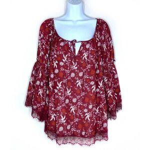 Ella Moon Bell Sleeve Lace Floral Blouse Top Sz M